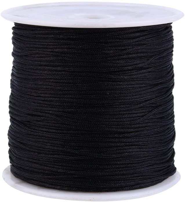 0.8mm Nylon Cord, 100M x 0.8mm Nylon Chinese Knot Cord Rattail Macrame Shamballa Thread (Black)
