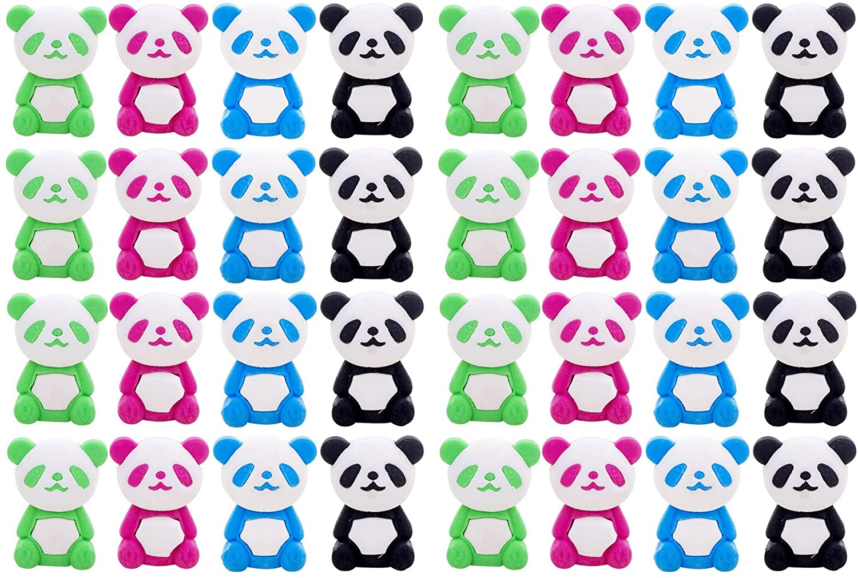 Weyoo 36 Pcs Panda Pencil Eraser Set, for Kids, Childrens Gifts, Party Favor, Classroom Rewards (Panda)