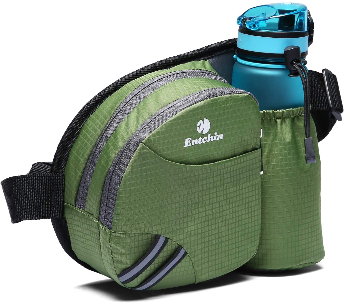 Entchin Fanny Pack with Water Bottle Holder for Women Men Hiking Running Dog Walking Waist Hip Bum Bag