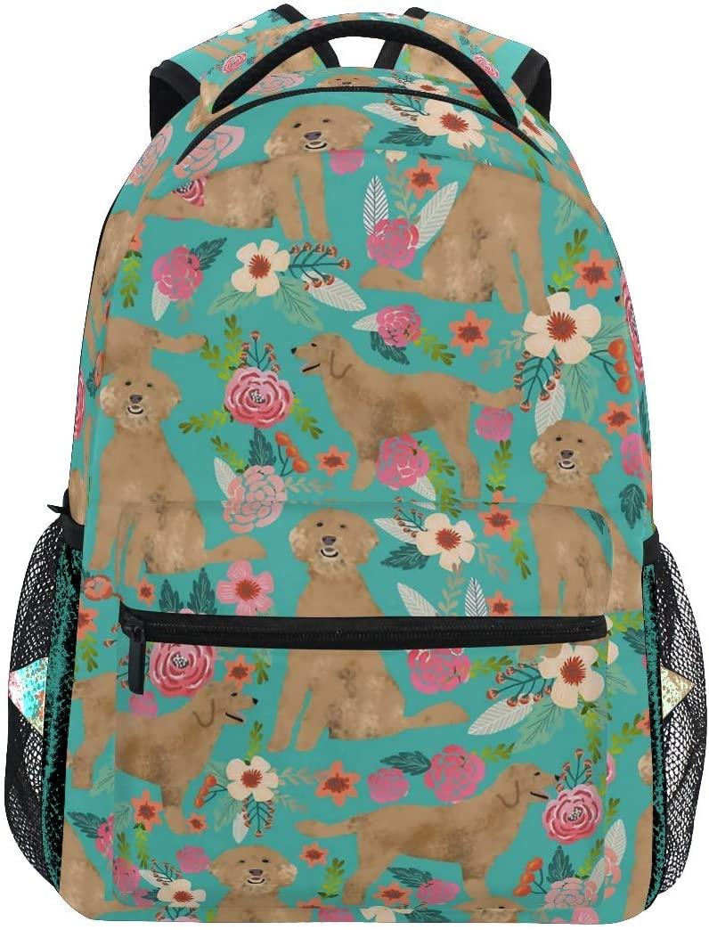 Golden Doodle Floral Flowers Backpacks College School Book Bag Travel Hiking Camping Daypack