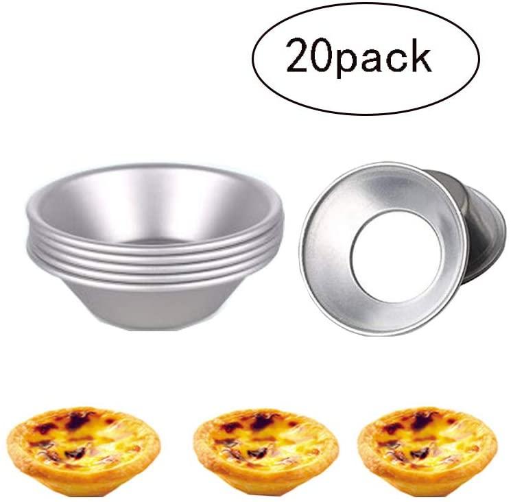 Egg Tart Mold,Aluminum Egg Tart Pans Cupcake Cookie Tins Pudding Mould Baking Cups (20Pieces)
