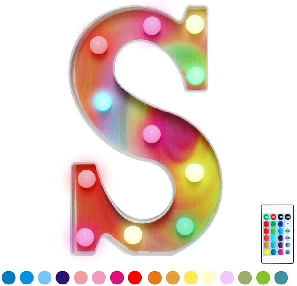 16 Colors Rainbow LED Letter Lights, Colorful Marquee Signs Illuminated 26 Alphabet Letter Night Light for Girls, Kids, Women, Nursery Room Decor-Rainbow Letter S