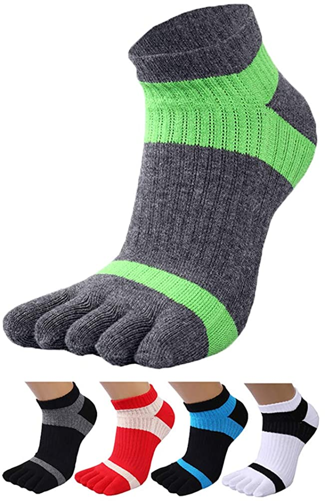 Men's Toe Socks 5 Finger Crew Cotton (Pack of 4 / 5 / 6)
