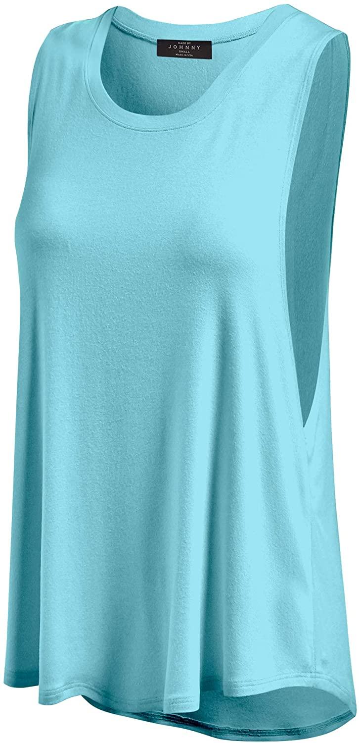 Made By Johnny Womens Basic Wide Armhole Loose Fit Tank Top - Made in USA