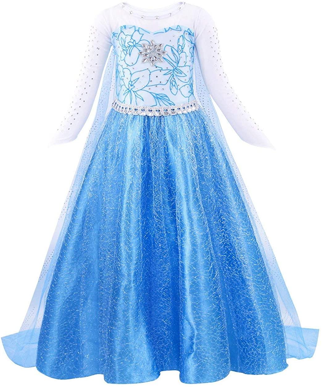 Wocau Little Girls Halloween Snow Princess Party Dress up