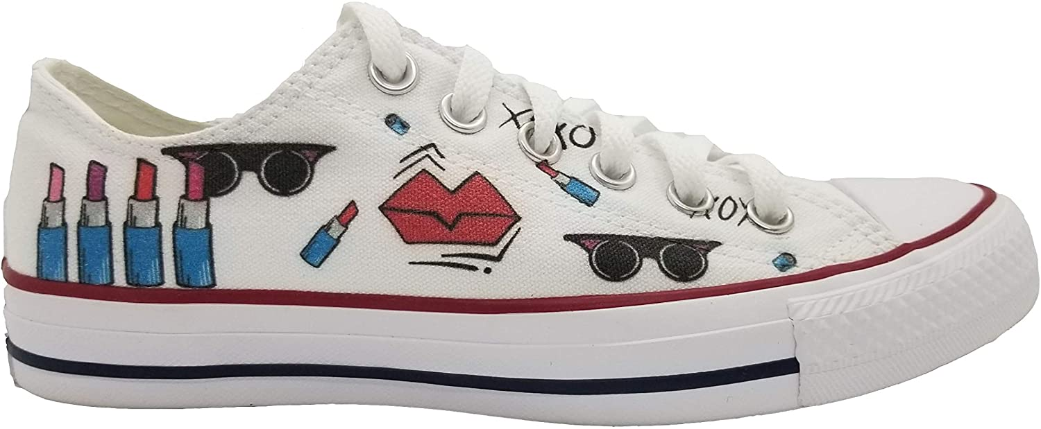 Angella DI-signs Women Sneakers White Low Top Women Shoes with Design