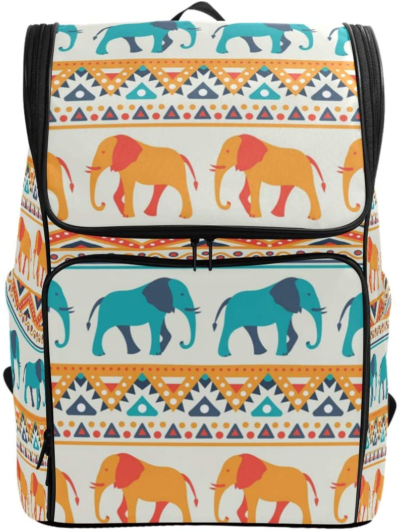 Tribal Elephant Backpack Waterproof Polyester Campus Backpack Lightweight Travel Daypack Large Capacity