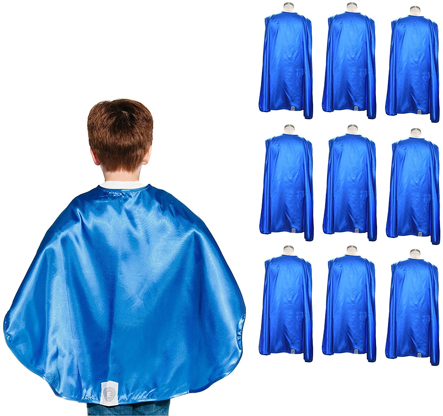 Everfan Youth Superhero Cape Party Pack | Set of 10 Polyester Satin Capes - Kids (Royal Blue)