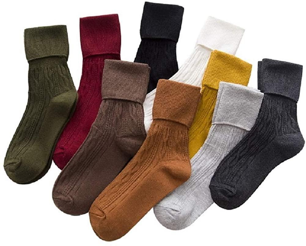 Sookiay 9 Pairs Women's Crew Socks Cotton Knit Soft Turn Cuff Socks
