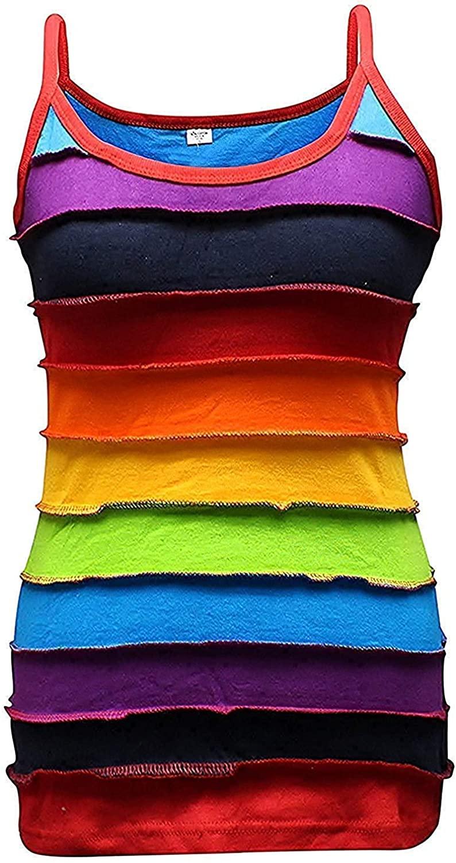 Shopoholic Fashion Womens Rainbow Striped Hippie Top