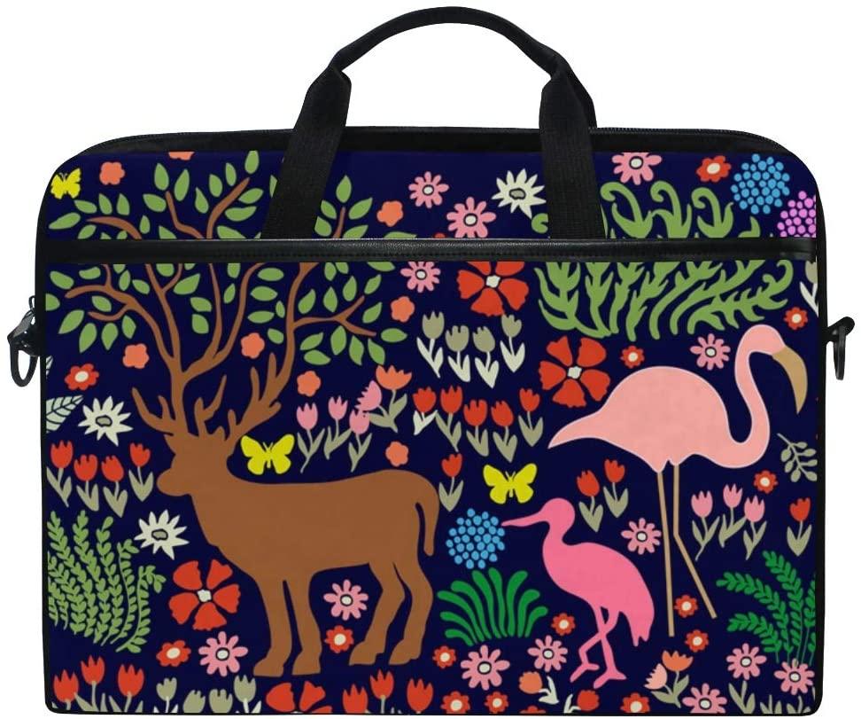 MRMIAN Art Tree w/Deeer Flamingos Herons Cranes Laptop Case Bag Sleeve Portable/Crossbody Messenger Briefcase Convertible w/Strap Pocket for MacBook Air/Pro Surface Dell ASUS hp Lenovo 15-15.4 inch