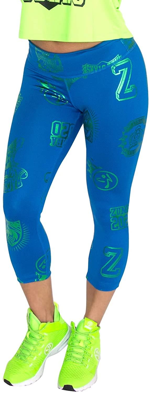 Zumba Metallic Print Capri Leggings Dance Fitness Workout Leggings for Women, Jersey Blue, XXL