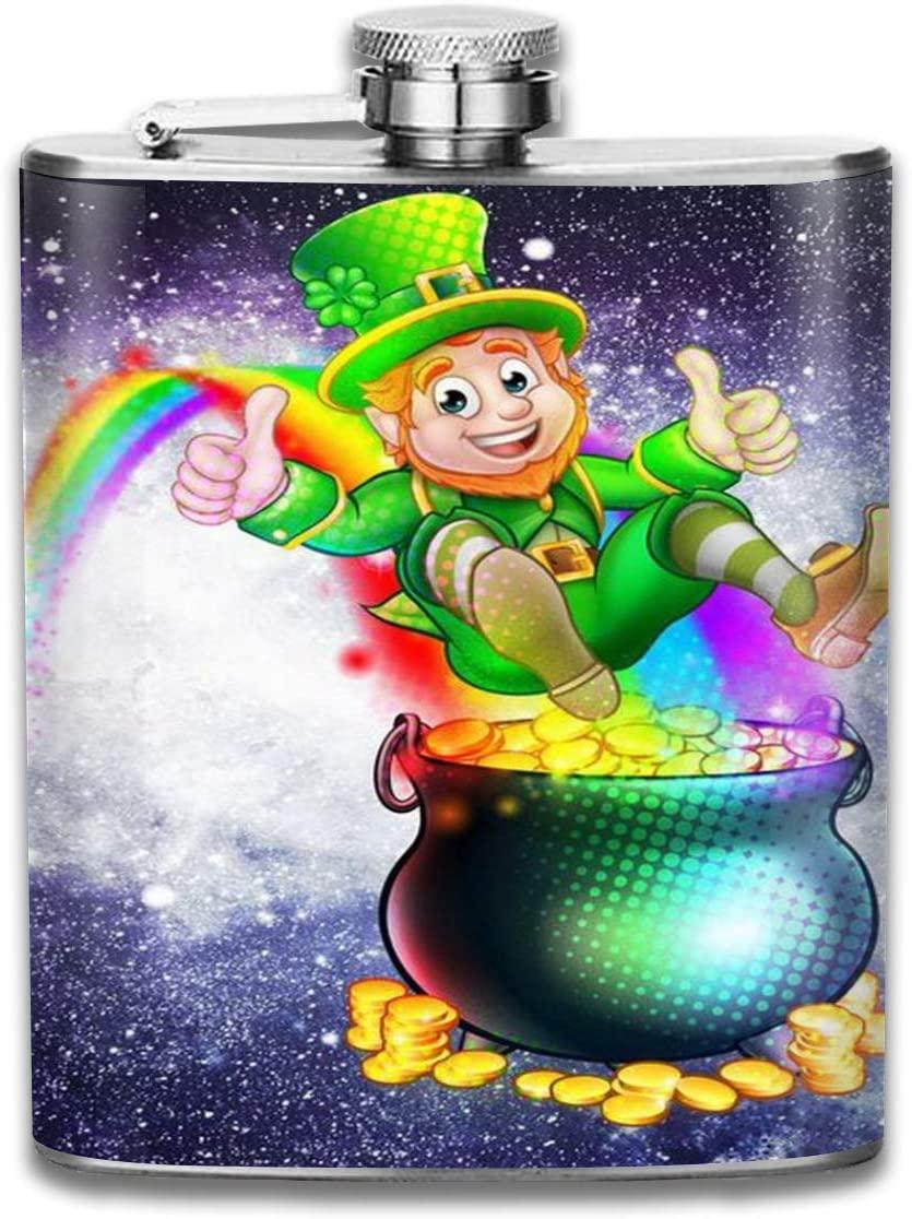 Flagon 2 Pcs Hip Flask for Liquor U-Shaped Rainbow Leprechaun Sliding Into A Pot of Gold 304 Stainless Steel Leak-Proof Alcohol Whiskey Liquor Wine 7OZ Pot Hip