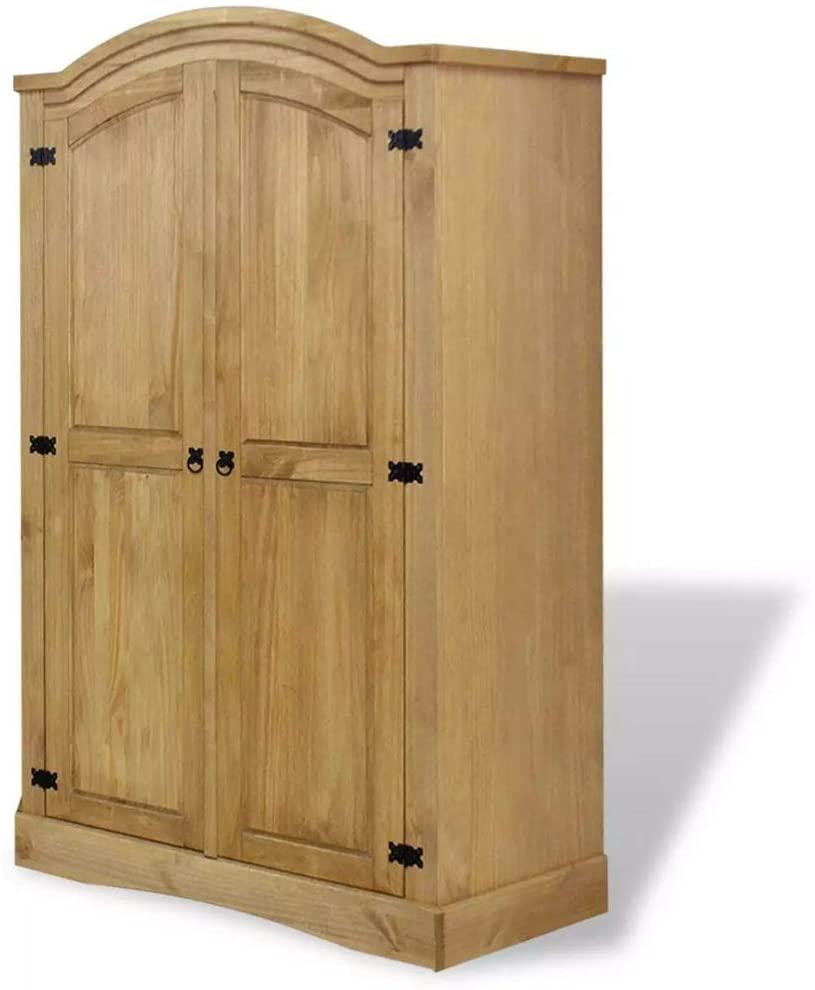 Unfade Memory Wardrobe Cabinet Mexican Pine Corona Range Cupboards with Hanging Rod (2 Doors)