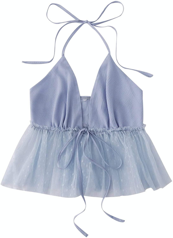 SheIn Women's Sexy Sleeveless Tie Front Halter Camisole Ruffle Hem Mesh Cami Top