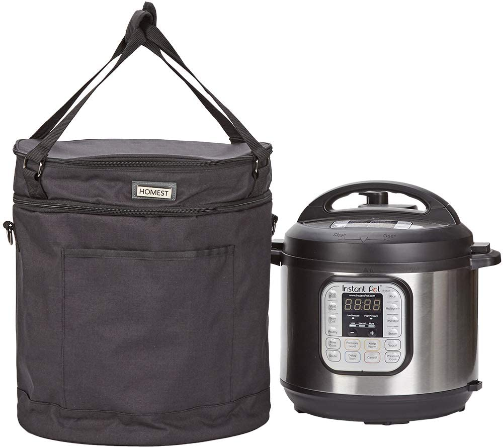 HOMEST 2 Compartments Carry Bag Compatible with 8 Quart Instant Pot, These Pressure Cooker Travel Tote Bag Have Accessory Pockets for Spoon, Measuring Cup, Steam Rack, Black (Patent Pending)