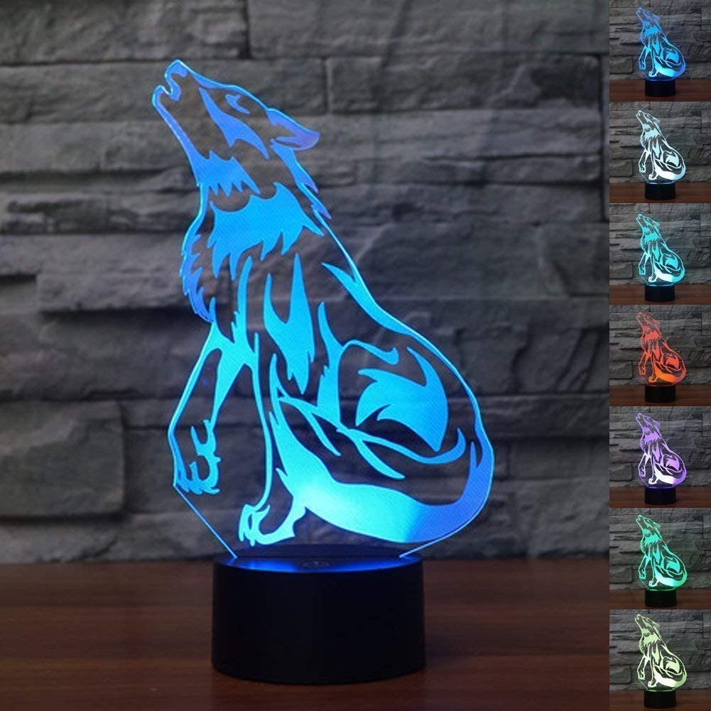 Optical Illusion 3D Wolf Night Light 7 Colors Changing USB Power Touch Switch Decor Lamp LED Table Desk Lamp Brithday Children Kids Christmas Xmas Gift