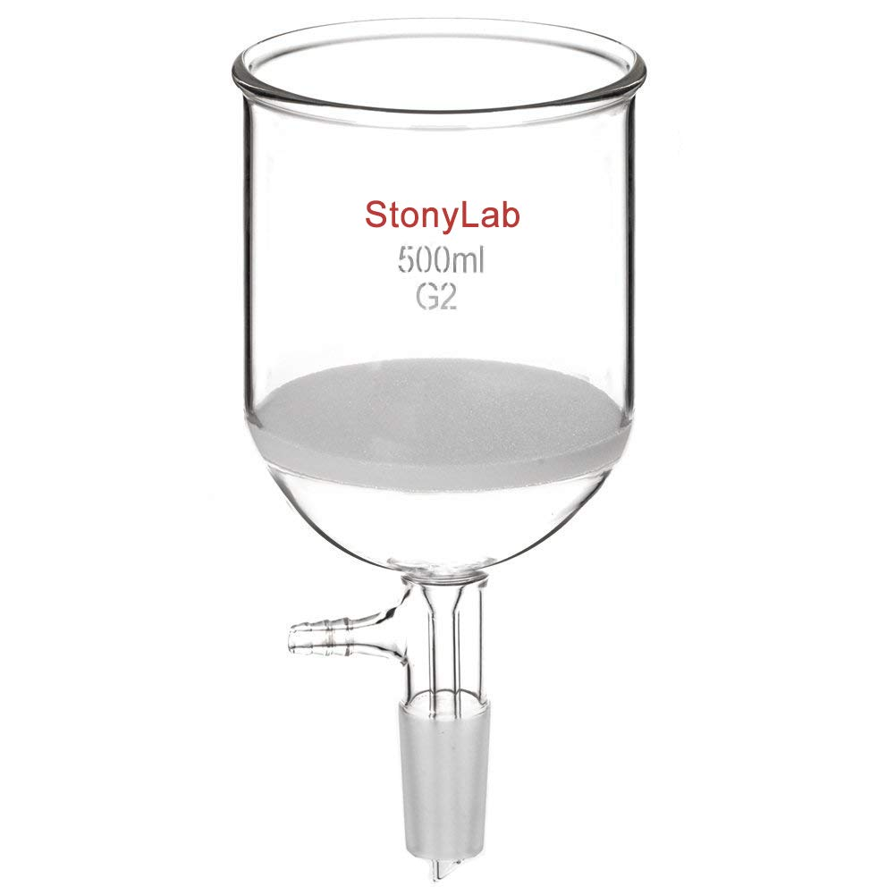 StonyLab Borosilicate Glass Buchner Filtering Funnel 500 mL with Medium Frit (G2), 94mm Inner-Diameter, 100mm Depth, with 24/40 Standard Taper Inner Joint and Vacuum Serrated Tubulation (500 mL)