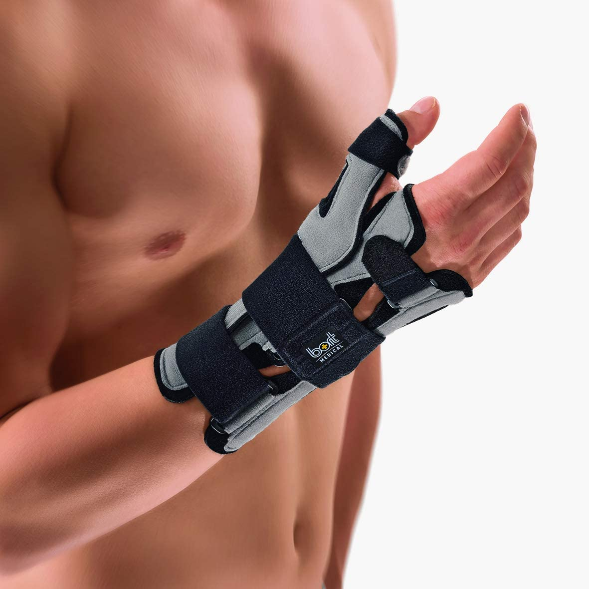 Bort 112050 SellaTex® Wrist Spica and Thumb Fracture Splint Removable Thumb Carpal Tunnel, Wrist Fracture, Thumb Fracture, Wrist Thumb Pain, Day Night Splint Splint, Immobilzer (Grey, XLarge, Left)