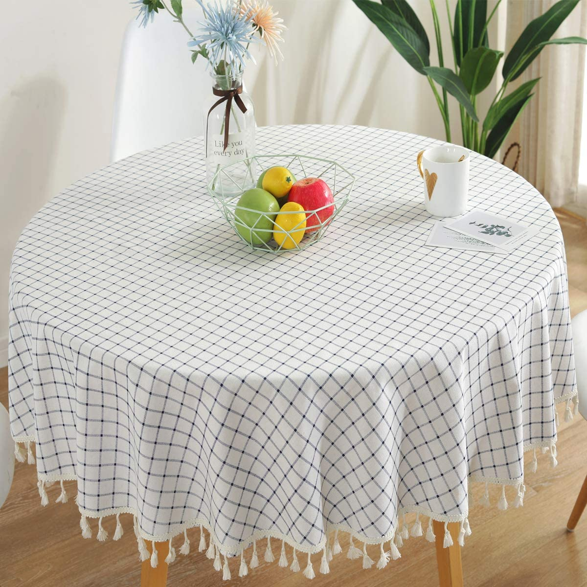 Bringsine Checkered Tassel Tablecloth Cotton Linen Dust-Proof Table Cover for Kitchen Dinning Tabletop Decoration (Round, 60 Inch, White/Blue)