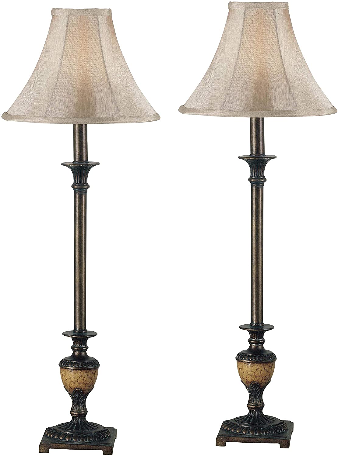 Kenroy Home Classic Buffet Lamp 2-Pack ,30 Inch Height, 11 Inch Diameter with Crackle Bronze Finish