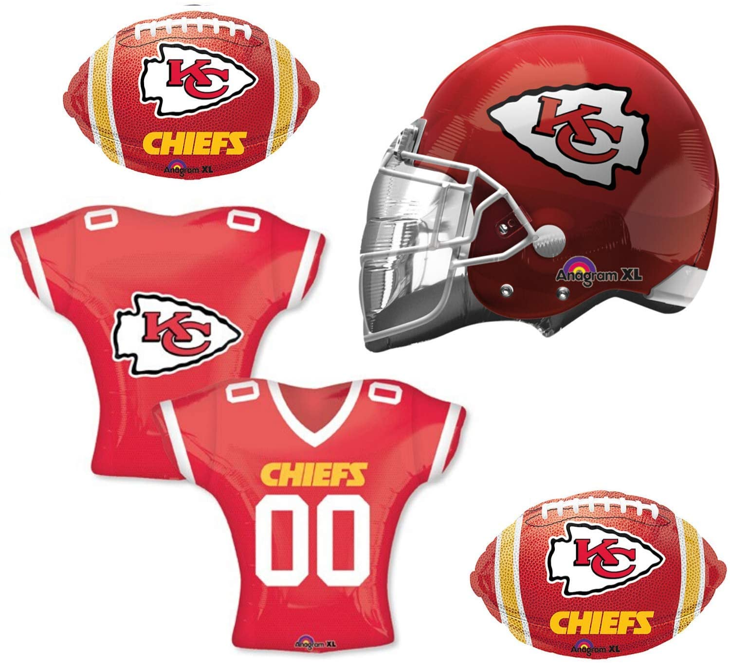 Chiefs Football Party Balloon Decorations - 4 Pack Supply Set For A Kansas City Chiefs NFL Sunday Football Fan. Celebrate The Super Bowl With A Balloon Bouquet, Happy Birthday Party, Or As A Special Event Banner Display