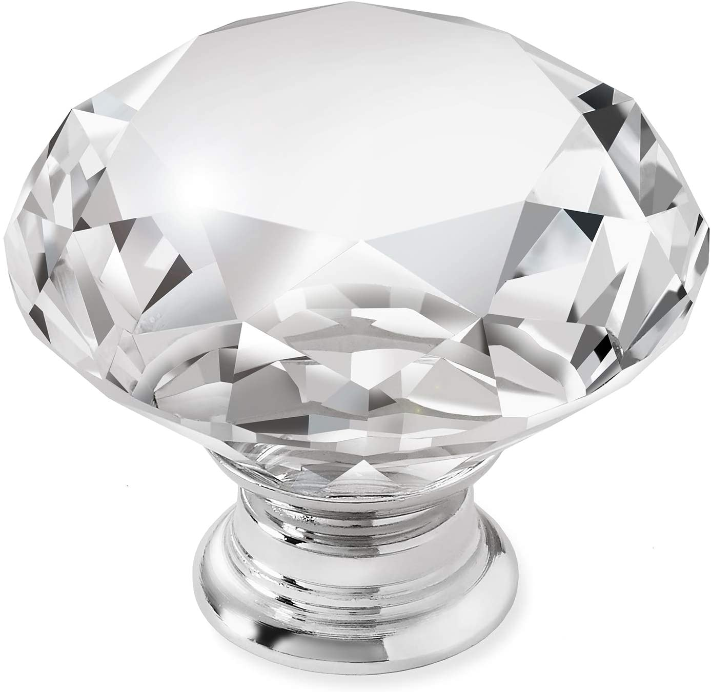 Cauldham 25 Pack Premium Glass Crystal Kitchen Cabinet Knobs Pulls (1-5/8