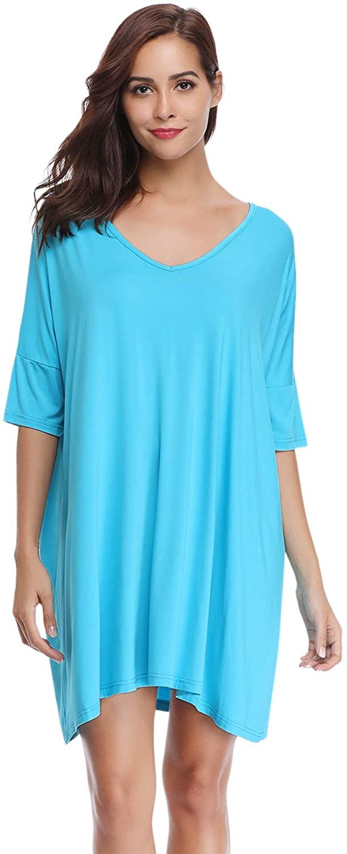Aibrou Women's Nightgown V Neck Short Sleeve Oversized Nightshirt Nightdress Loose Pajama Sleepwear