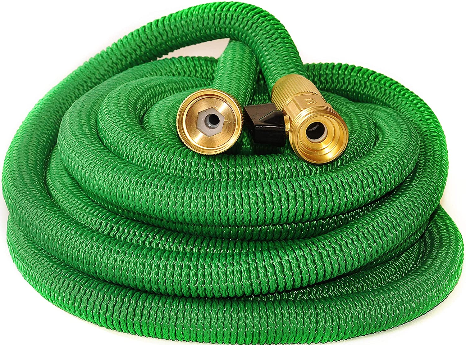 Riemex Expandable Hose Green 100 FT Heavy Duty Garden Water Hose - Triple Latex - Expanding Solid Brass Metal Fittings Connectors, Flexible Strongest - for All Watering Needs Green 100FT
