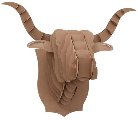 Brown Cow Head 3D Puzzle Jigsaw DIY Art Paper Animal Bull Model Home Office Accent Kid Room Wall Hanging Mounted Plaque Decor Toy Kit (Large: 17.9