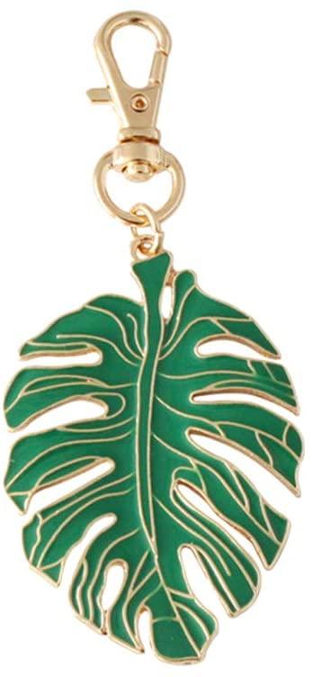 Amosfun Tropical Palm Leaf Keychain Green Leaf Key Ring Tropical Party Decoration Birthday Gift Luau Hawaiian Party Decoration