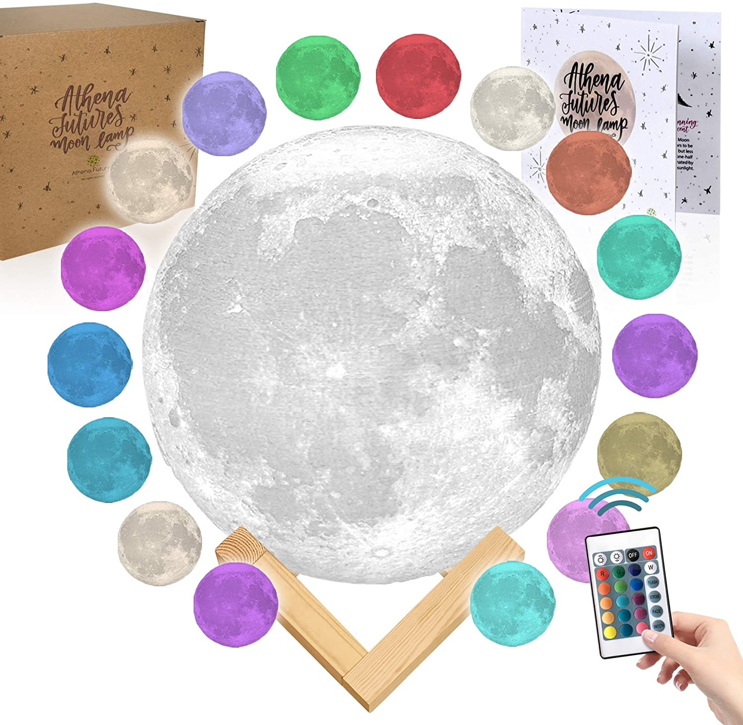 Moon Lamp with Timer with Colors - Moon Light 3D Moon Lamp - Seamless - Moon Night Light with Stand - Mood, Globe, Cool Lamp, Gift, with Wooden Stand, Gift Box, Moonlight LED (7.1 inch)