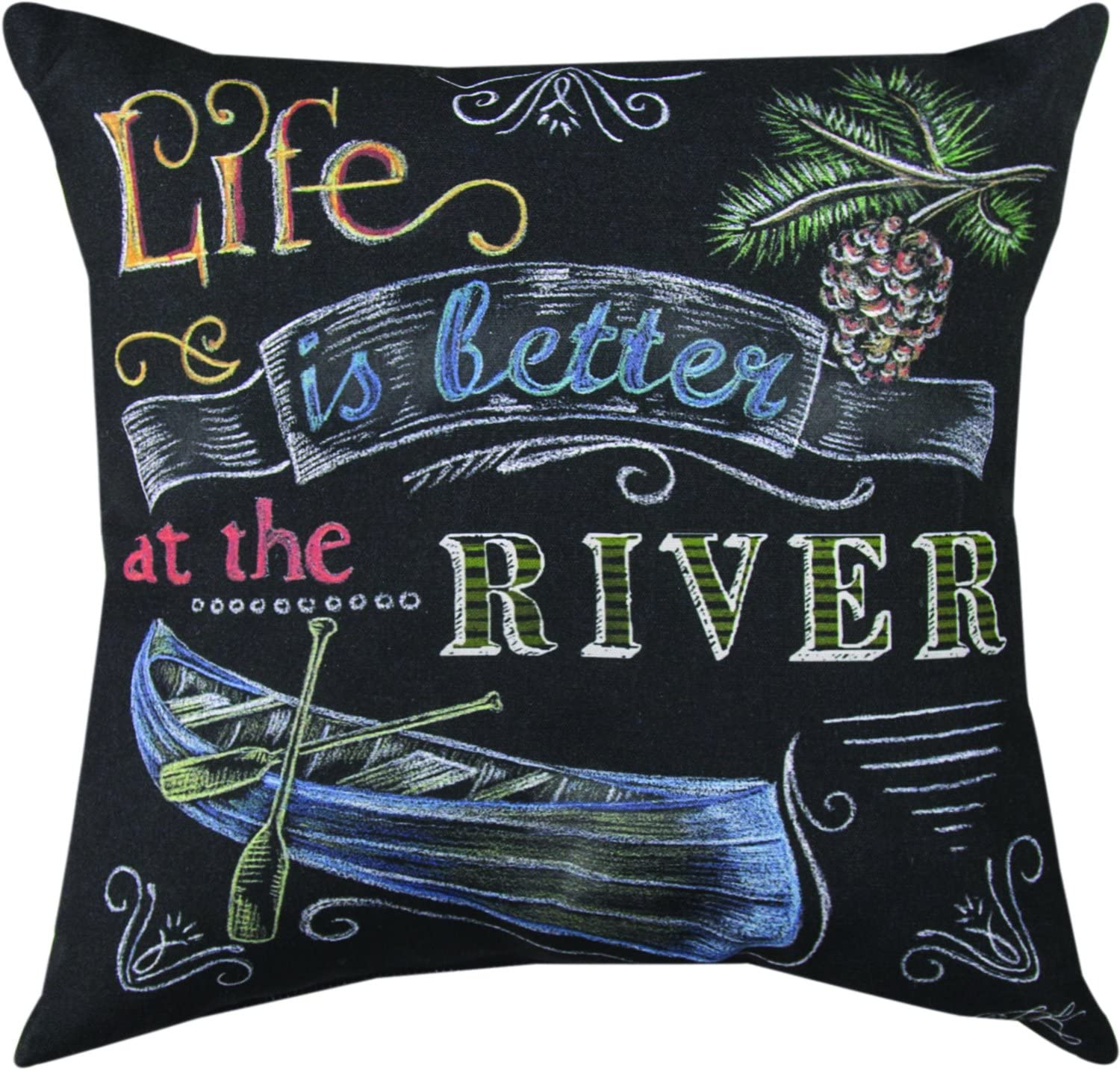 Manual Woodworkers & Weavers Indoor/Outdoor Climaweave Throw Pillow, Life is Better at The River, 18