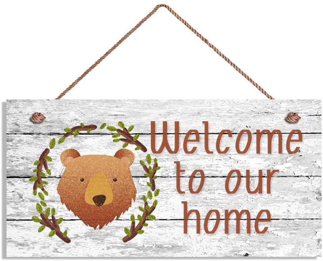 LPLED Welcome to Our Home Wood Signs, Rustic Decor 10x5 Sign, Housewarming Gifts, Hanging Wood Plank Sign(YZ993)