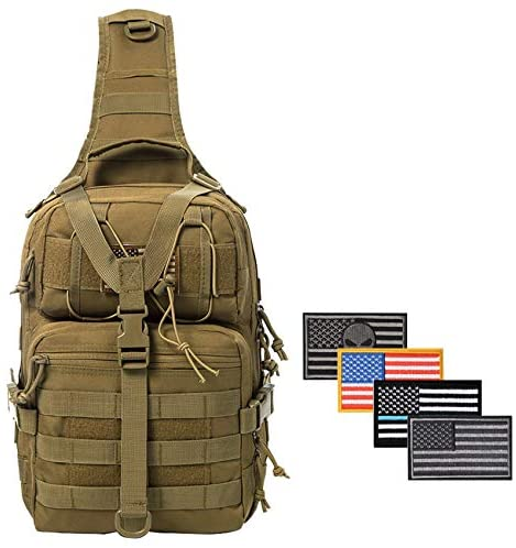 SHELCUP EDC Sling Bag Pack, Rover Shoulder Molle Backpack, with USA Flag Patch