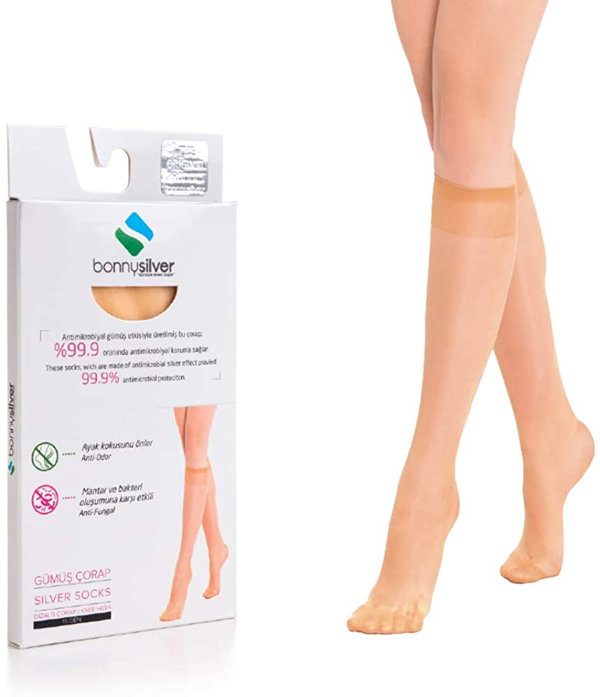 Women's Pantyhose Silver Nylon Stockings Anti-Odor Anti-Microbial Natural Sheer