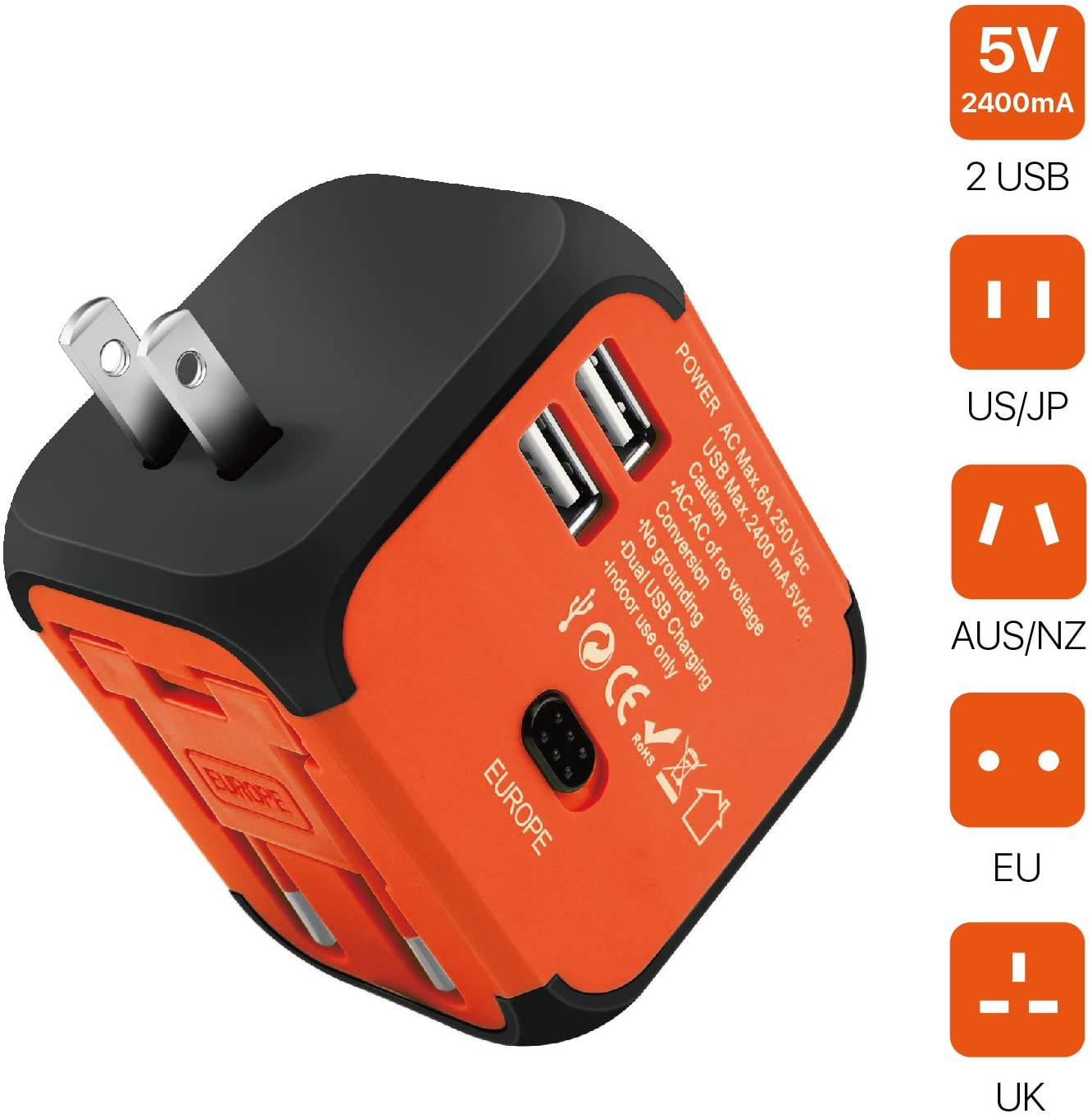 TNP International Universal Power Adapter Converter with 2 USB Charging Ports - All in One Travel Worldwide Plug Built-in Spare Fuse AC Socket Wall Outlet for US, EU, UK, AU, CN 150 Countries (Orange)