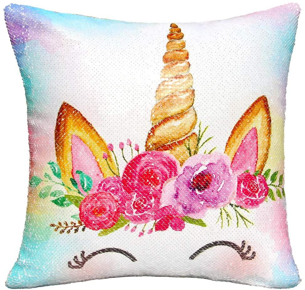 MHJY Unicorn Pillow with Insert,Magic Reversible Sequins Mermaid Pillow 16