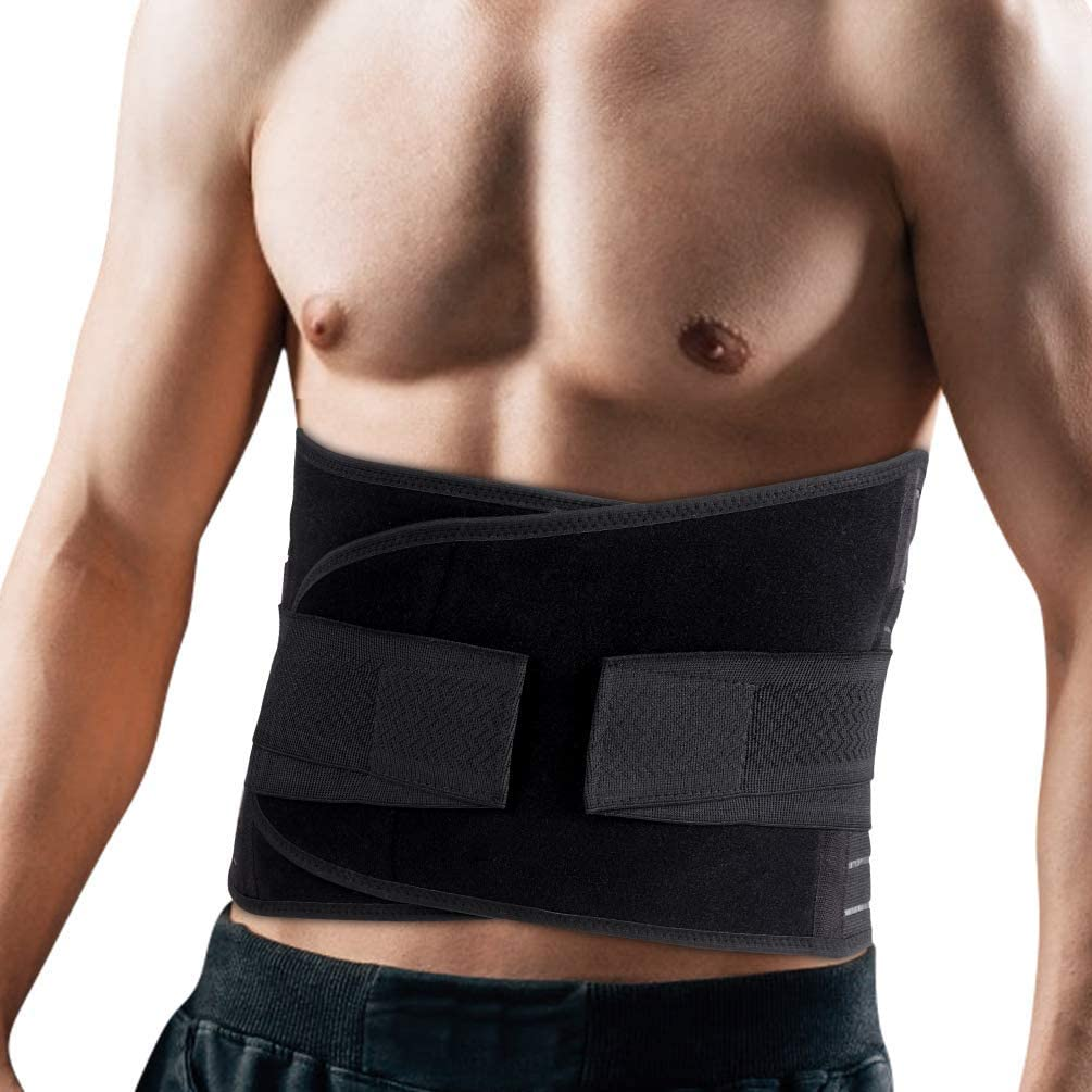 Lumbar Support Back Brace with Wide Protection, Skin-Friendly & Breathable, Lower Waist Support for Pain Relief, Sciatica, Herniated Disc and Scoliosis, Black, Size L for Men Women