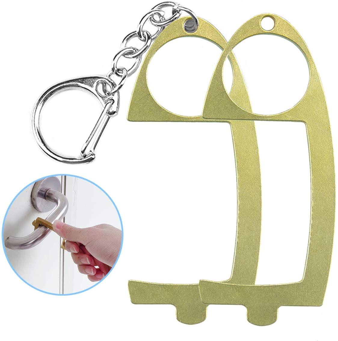 AOYOO No Touch Door Opener EDC Door Opener, Door Opener, Sanitary Hands, Non-Contact Brass Key Tool, Outdoor Public Non-Contact Key Chain Tool, Keep Hands Clean to Prevent Bacterial Infection
