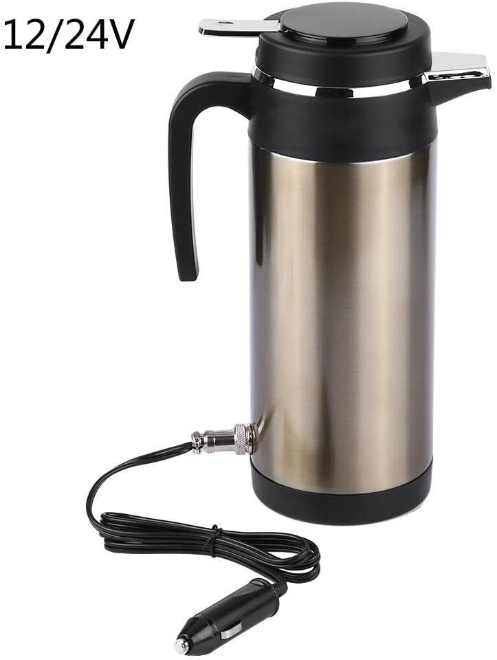 Gorgeri Car Kettle, 1200ML 12V/24V Car Kettle Stainless Steel Electric In-car Kettle Travel Drinking Cup Travel Coffee Mug Water Bottle(12V)