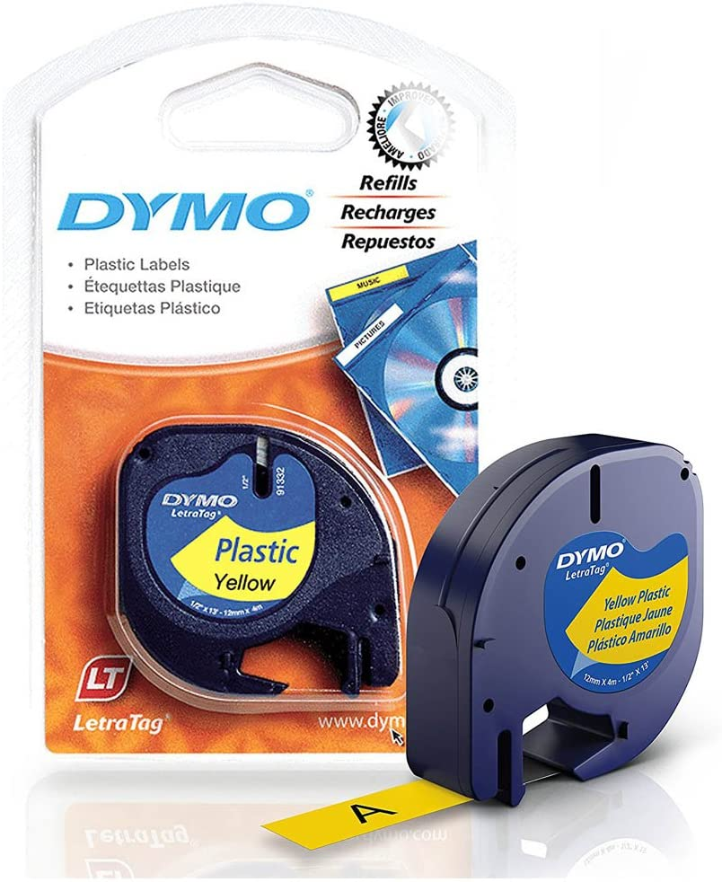 Dymo LetraTag Plus LT-100T Plastic Label Tape, 1/2