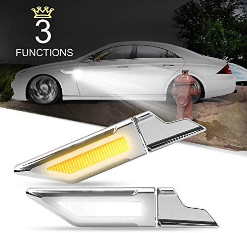 LEADTOPS Daytime Running Parking Back UP Light LED Turn Signal Bulb, 3 Functions Switchback White&Amber Yellow Car Side Auxilliary Lamp Night Performance DRL Reverse Tail Lamp