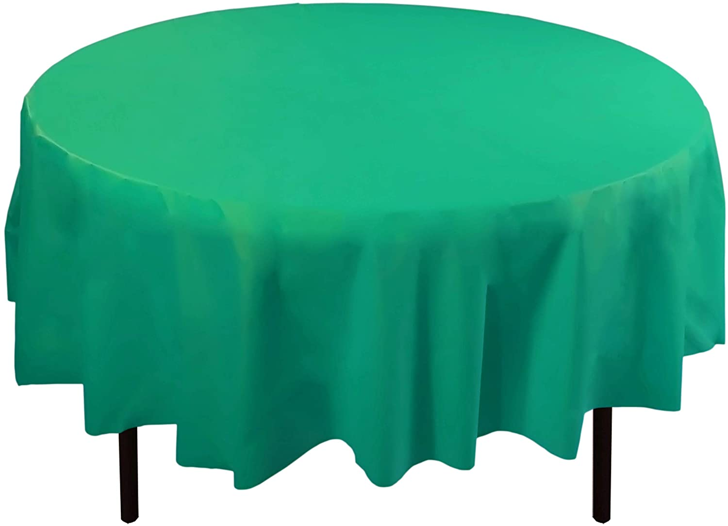 6-Pack Premium Plastic Tablecloth 84in. Round Plastic Table cover - Teal