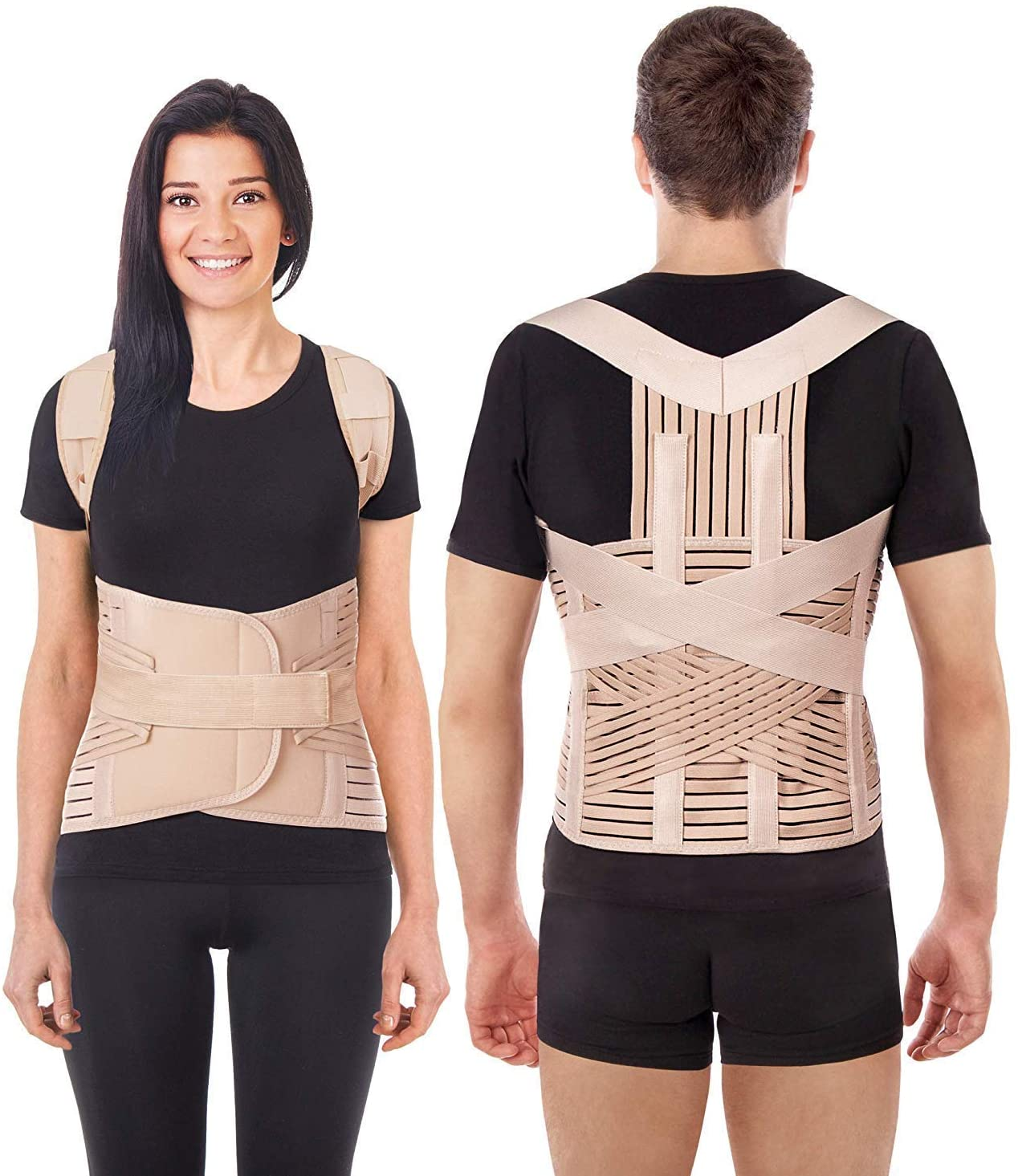 Breathable Posture Corrector Brace Lux Adjustable Lumbar Dorsal Shoulders Support Clavicle Postural Orthopedic Upper and Lower Back Pain Relief Beige Large