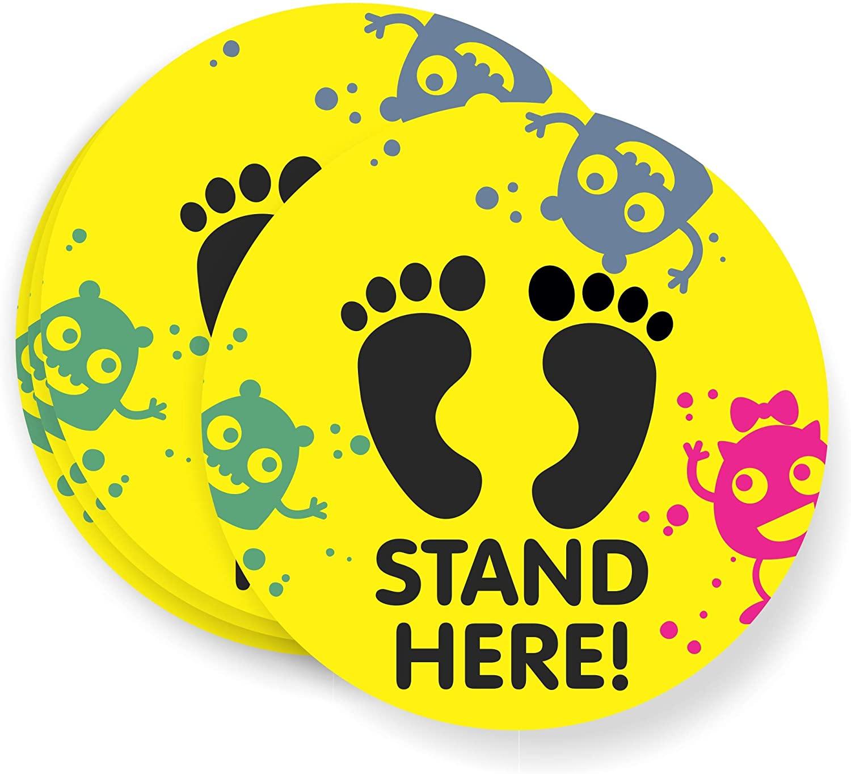 Social distancing Floor Signs for Kids, Day Care, Elementary School, Summer Camp, Floor Sticker 6 feet (for Hard Floor)