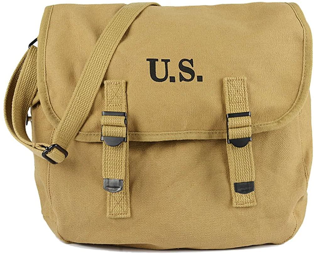 OLEADER WW2 US Army M6 Gas Mask Carry Bag Messenger Bag Lightweight Vintage CanvasShoulder Bag- Bag Only (musettebag)