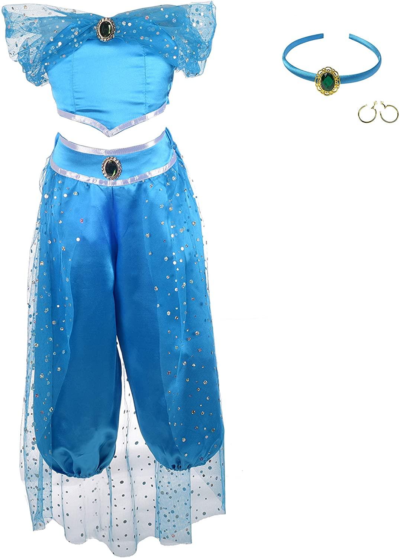 Lito Angels Girls Princess Costumes Arabian Princess Dress Up Halloween Christmas Outfit with Headband and Earwings