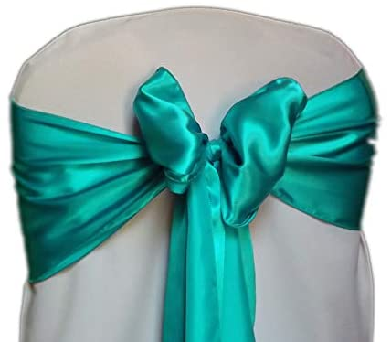 mds Pack of 10 Satin Chair Sashes Bow sash for Wedding and Events Supplies Party Decoration Chair Cover sash -Sea Green