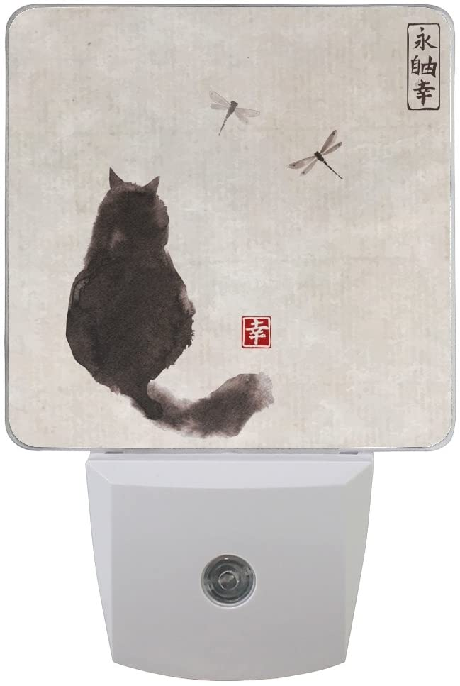 Naanle Set of 2 Black Fluffy Cat Watch Dragonfly Vintage Background Eternity Freedom Happiness Traditional Japanese Ink Painting Auto Sensor LED Dusk to Dawn Night Light Plug in Indoor for Adults